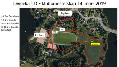 Løypekart DIF klubbmesterskap 14.3.2019